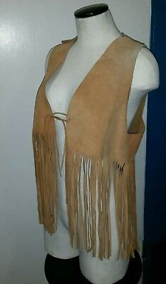 Womens Vintage Brown Suede Leather LONG Fringed VEST  Boho Hippie  sz 36 chest