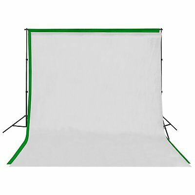 Square Perfect Background Stand with 6 x 9 White & Green Screen Muslin Backdrops