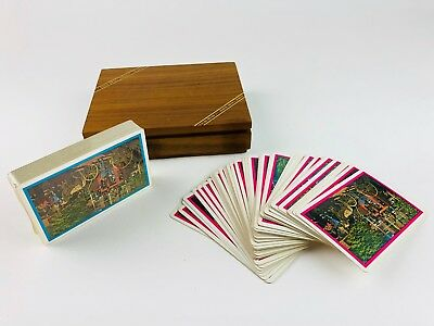 Vintage Double Deck Wooden Box Playing Cards Wells Fargo Stage Coach Western