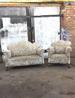 Antique 1920s Art Deco Two Seater Fabric Sofa and Armchair