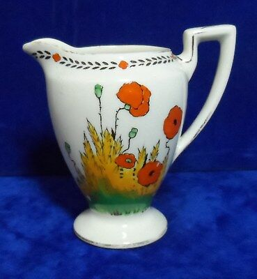 Rare Old Crown Ducal Ware A.1915 Hand Painted Poppy Pattern Cream / Milk Jug