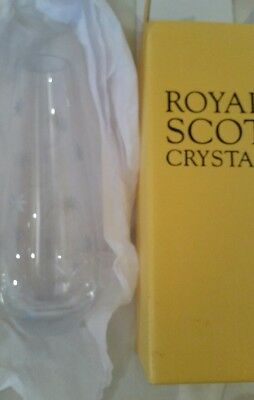 "ROYAL SCOT FINEST HAND CUT CRYSTAL VASE 8"" New"