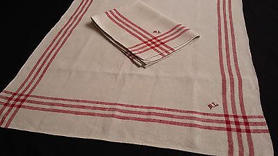 2x old unused handwoven linen kitchen Towels with beautiful red border