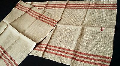 beautiful unused ecru linen Runner Towel with red border and woven pattern