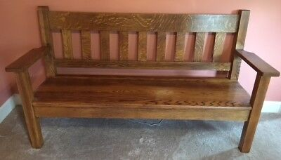 Large Antique Circa 1900 Solid Oak Original ARTS & CRAFTS Mission Style Bench