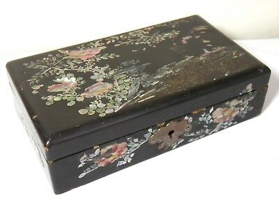 Antique Vintage Chinese Black Lacquer Mother of Pearl Inlaid Trinket Box