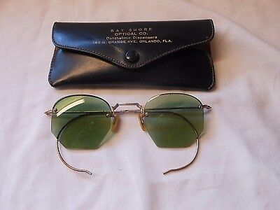 Antique 12K G F Wire Frame Green Tinted Reading Glasses Mother Pearl Nose Guards