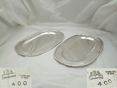 STUNNING PAIR of MEXICAN STERLING SILVER OVAL SERVING PLATES c 1940 22.3 oz