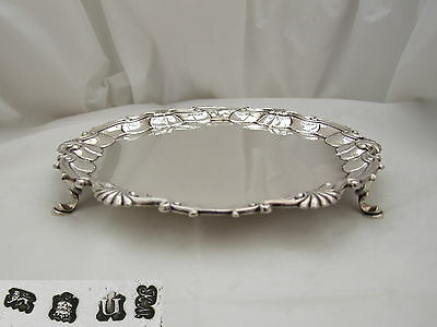 Rare George Ii Hm Sterling Silver 3 Footed Salver 1748