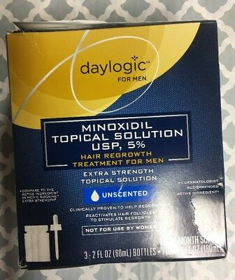 Daylogic Hair Regrowth Treatment For Men 5% Minoxidil 3 Month Supply Exp 05/2019
