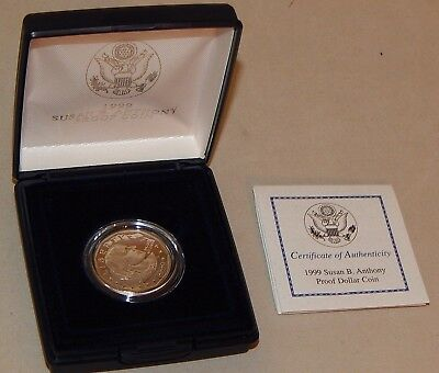 1999 Proof Susan B Anthony Dollar Coin w/ Case & COA