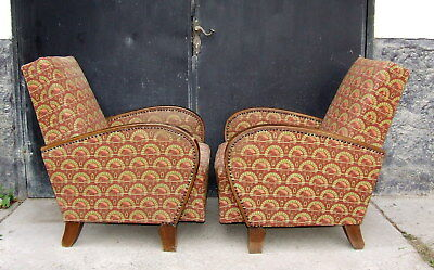 Pair Art Deco Armchairs, Club Chairs For Restoration Upholstery. Vintage Antique