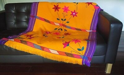 """VTG hand-embroidered Oaxaca Mexico Blanket Runner Bright Otomi Floral pattern64"""""""