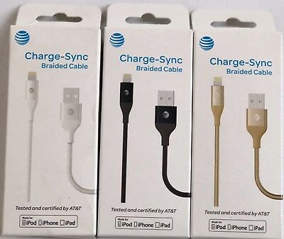 New AT&T Charge Sync Braided Lightning USB Cable for Apple iPhone 5/6/6s/7/8/X