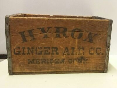 """Early Vintage Rare Advertising 16.5"""" X 11"""" Hyrox Ginger Ale Co. Soda Crate"""