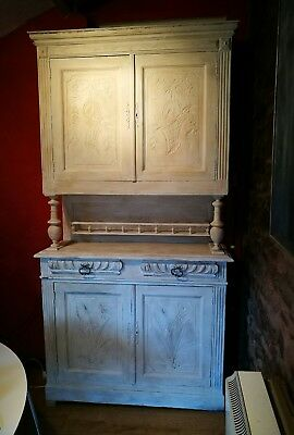 Antique painted abs carved Shabby Chic French Buffet Kitchen Dresser