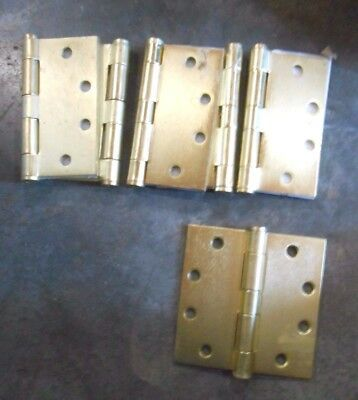 """4 1/2"""" HD Plated Steel Door Hinge With Button Tips In Satin Brass (Qty-6) (F-6)"""