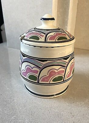 Honiton Devon Pottery Lidded Preserve Pot, Hand Painted