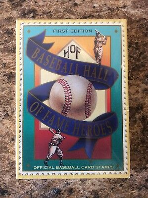 1st Edition Baseball Hall of Fame Heroes 12 Card Stamps, Never Opened