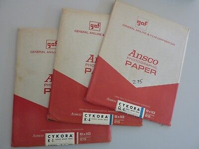 """Lot of 3 Vintage GAF Ansco Photographic Various CYKORA Paper 8x10"""", Opened"""