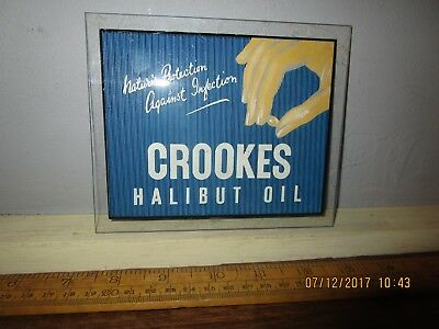 Antique / Vintage Crookes Halibut Oil Advertising sign -small shop counter sign