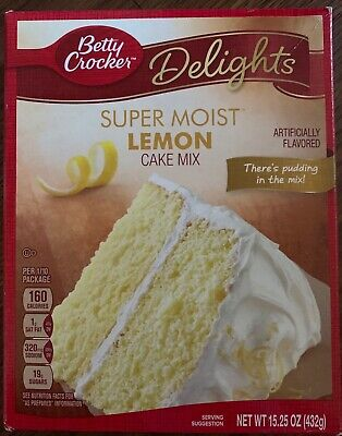New Betty Crocker Delights Super Moist Lemon Cake Mix 15.25 Oz Box Free Shipping