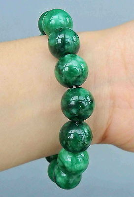 Fine Chinese Handwork Decorative Green Jade Carved Bright Beads Elegant Bracelet