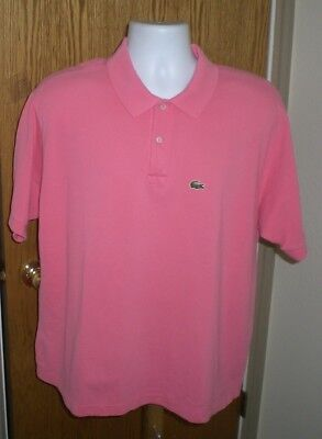 Lacoste Mens Size XL Pink Short Sleeve w/Alligator Logo Polo Shirt Very Nice USA