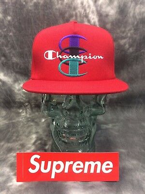 online store 9ca96 d93c2 Supreme FW17 Champion Snapback Red Five Panel Hat Unisex Adult NWT