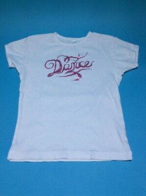 "Bella Girl ""Dance"" T-shirt White With Pink Glittery Vinyl Youth Dancer Warmup"