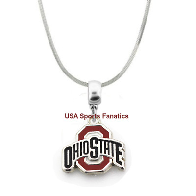 fc7a7b73ed4aed NCAA - Ohio State Buckeyes Team Logo Pendant Necklace On A 925 Snake Chain