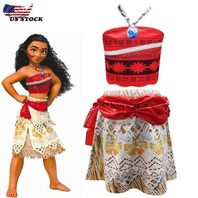 Girls Kids Movie Polynesia princess Moana 2-Piece Costume Birthday Dress B4
