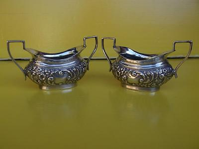 219 / Small Pair Of English Antique Silver Plated Table Salts