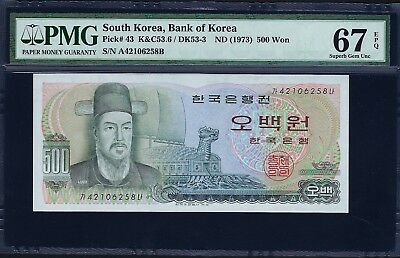 South Korea ND (1973) P-43 PMG Superb Gem UNC 67 EPQ 500 Won