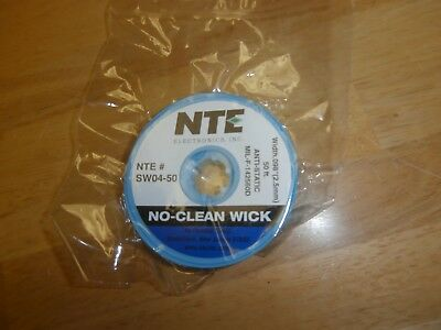 Anti-Static NO-Clean Soder Wick SW04-50 NTE 50 Ft Spool,2.5mm width,NEW