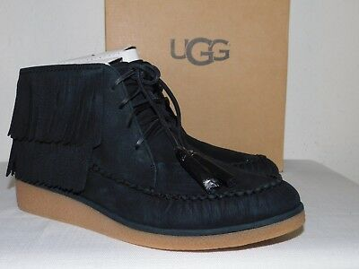 e630934ac5e NEW WOMENS 11 Black Ugg 1018944 Caleb Suede Fringe Ankle Lace Up Boots  Booties
