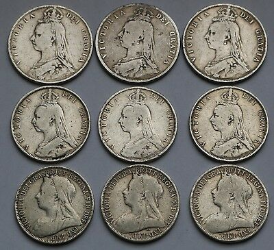Uk Great Britain Silver Lot Half Crowns Florins 1887-1900