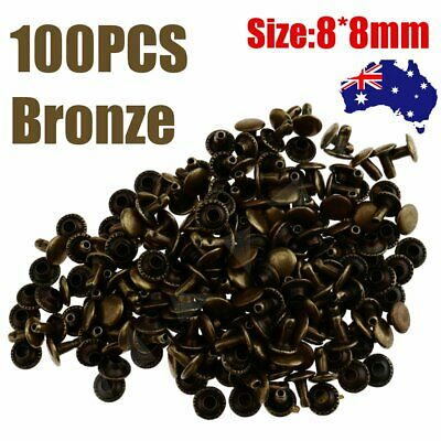 100x Bronze 8mm Double Cap Rivets Stud Fasteners Leather Craft Punk Spike Repair