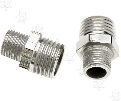 """2pcs Iron 1/4"""" BSP Male To 1/8"""" BSP Male Airbrush Hose Adaptor Connector"""