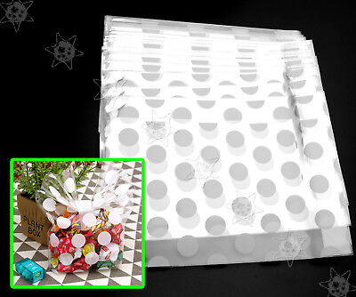 100 x White Dots Cellophane Bag Christmas Party Wedding Favour Biscuit Gift Bags