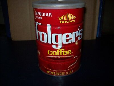 Folgers Mountain Grown Coffee 1 Lb Metal Can With Lid Good Condition