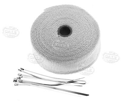 "Exhaust Manifold Downpipe White Heat Wrap 2""x 33Ft With Ties Pipe Tape"
