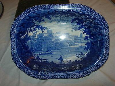 Historical Blue Staffordshire Serving Dish Clews 12.25 x 9.25