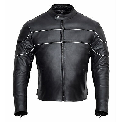 Men's Classic Style Leather Motorcycle Jacket with CE Body Armor MBJ002