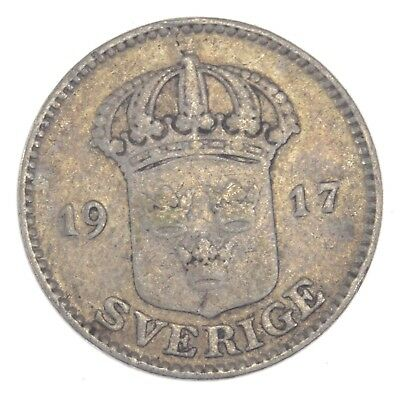 SILVER - 1917 Sweden 25 Ore - World Silver Coin *558