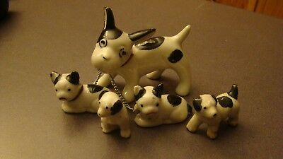 Lot of 5 So Darling Vintage 1930s Porcelain Miniature Mama Dog & Baby Figurines