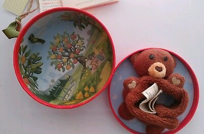 """Apple Park Picnic Pal Organic CUBBY Bear 4"""" Wrist Foot Rattle for Baby Infant"""