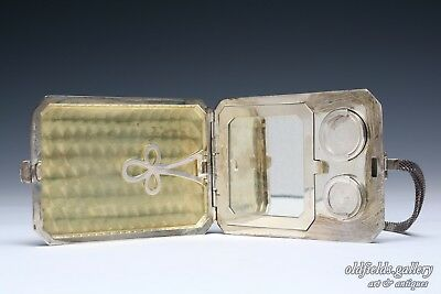 Antique Sterling Silver Art Deco Compact Card Coin Old Case Mirror Flapper Purse