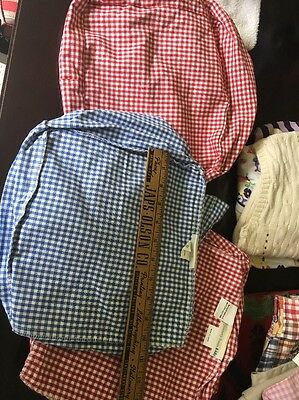 3 Pottery Barn Kids Basket Liners Red And Blue Approx 10 Inches By 10 Inches