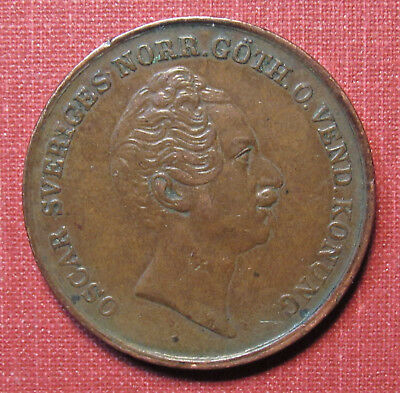 1852 Sweden 2 Skilling- Very Nice Detail, Attractive Patina, Only 61,000 Minted!